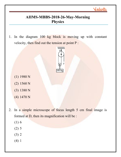 AIIMS 2018 Question Paper 26th May 2018 Morning Shift part-1