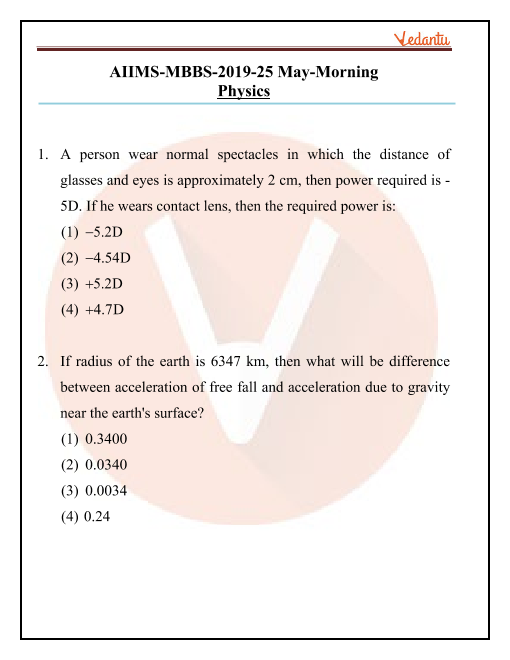 AIIMS 2019 Question Paper 25th May 2019 Morning Shift part-1