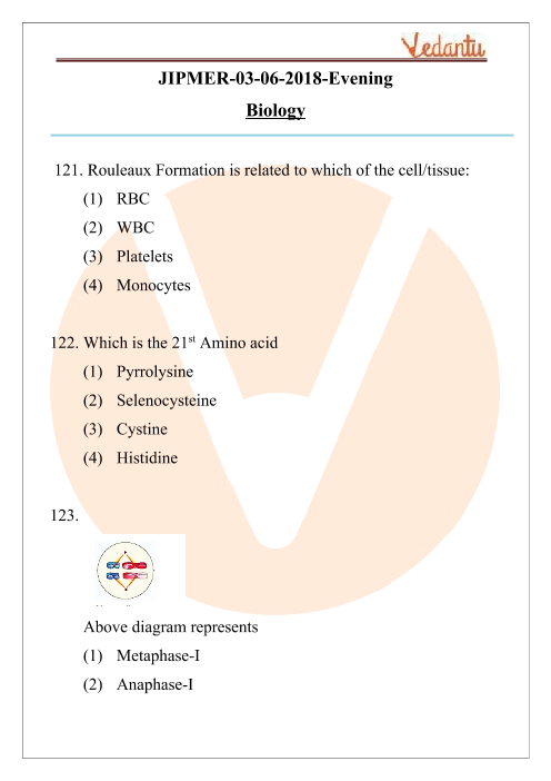 JIPMER 2018 Biology Question Paper with Solutions Evening Shift part-1