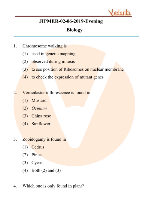 JIPMER 2019 Biology Question Paper with Solutions Evening Shift part-1
