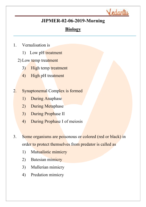 JIPMER 2019 Biology Question Paper with Solutions Morning Shift part-1