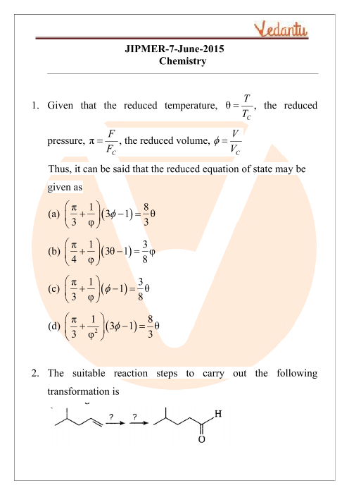 JIPMER 2015 Chemistry Question Paper with Solutions part-1