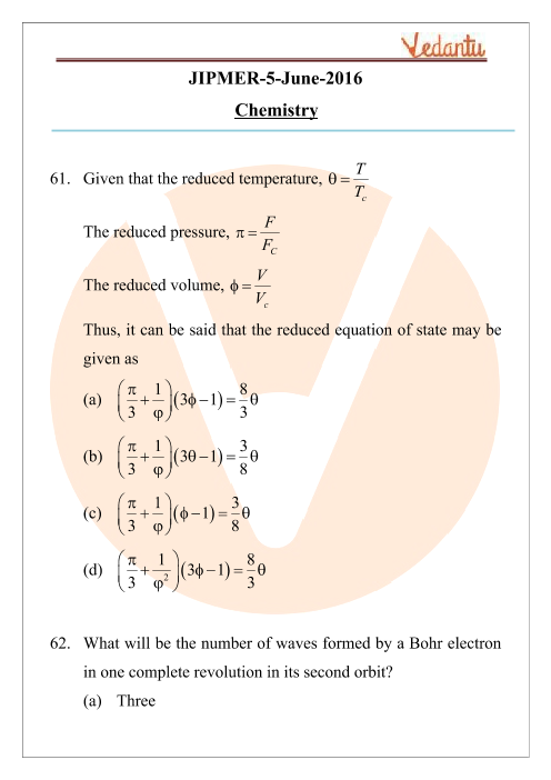 JIPMER 2016 Chemistry Question Paper with Solutions part-1