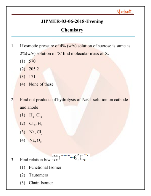 JIPMER 2018 Chemistry Question Paper with Solutions Evening Shift part-1
