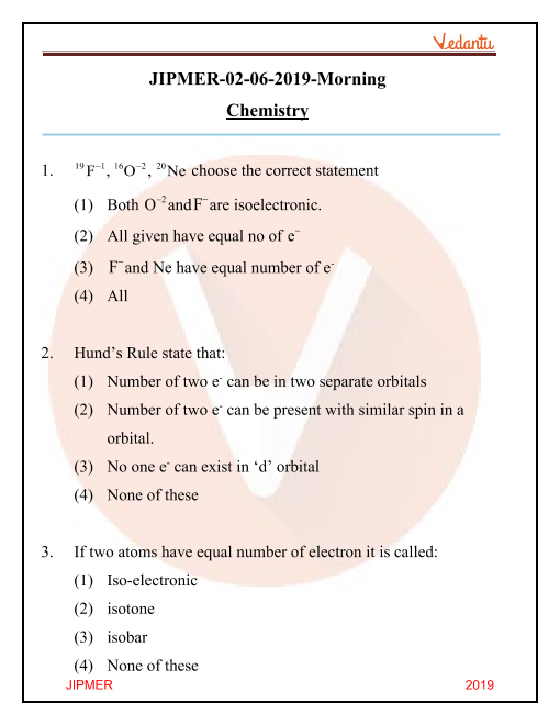 JIPMER 2019 Chemistry Question Paper with Solutions Morning Shift part-1
