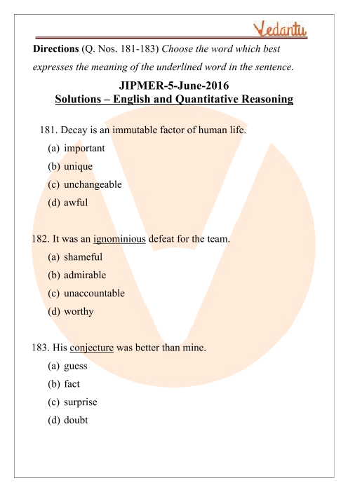 JIPMER 2017 English Question Paper with Solutions part-1