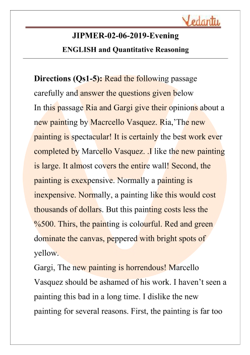 JIPMER 2019 English Question Paper with Solutions Evening Shift part-1