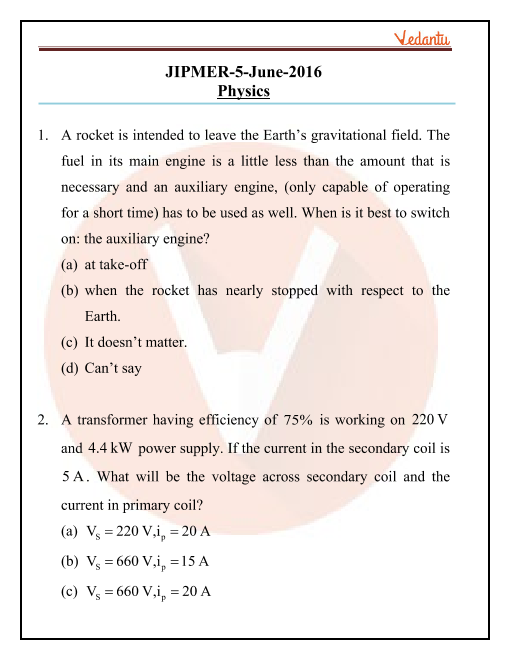 JIPMER 2017 Physics Question Paper with Solutions part-1
