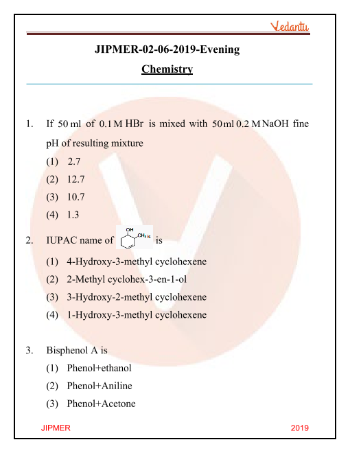 JIPMER 2019 Question Paper with Solutions Evening Shift part-1