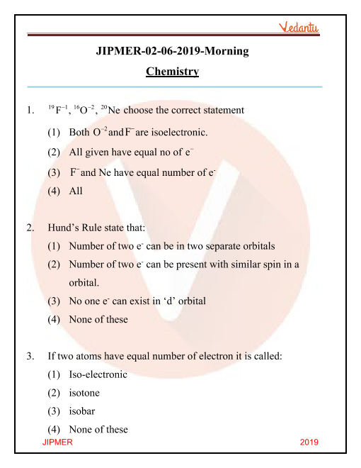 JIPMER 2019 Question Paper with Solutions Morning Shift part-1