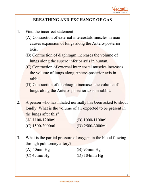 NEET Breathing and Exchange of Gas Important Questions part-1