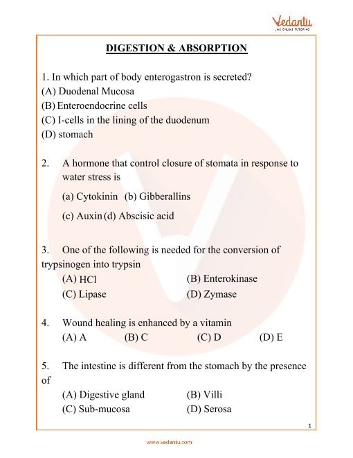 NEET Digestion and Absorption Important Questions part-1