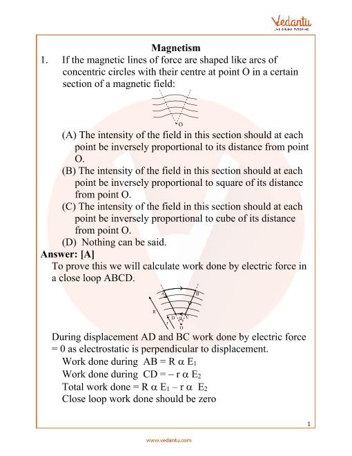 NEET Magnetism Important Questions part-1
