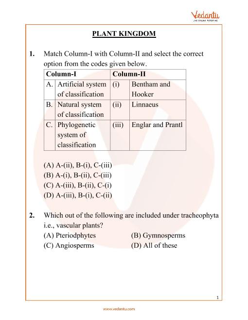 NEET Plant Kingdom Important Questions part-1