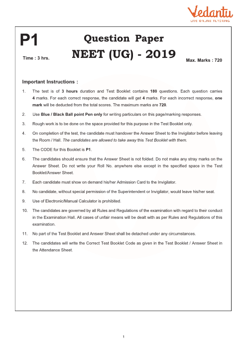 NEET 2019 Question Paper with Solutions and Answers Keys for Code-P1