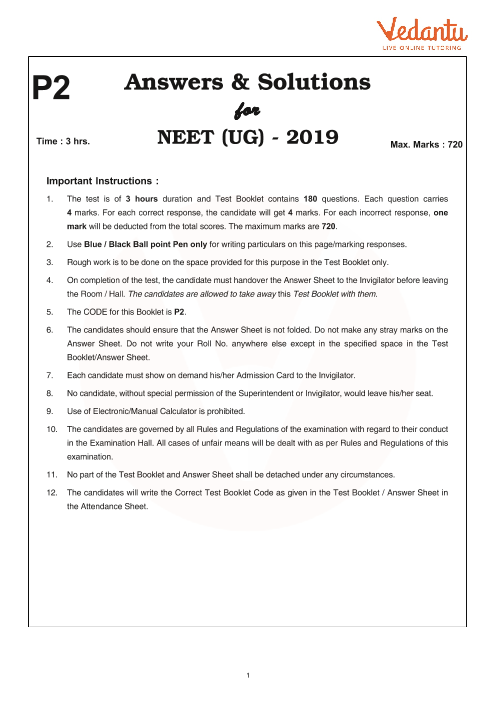 NEET 2019 Question Paper with Solutions and Answers Keys for Code-P2