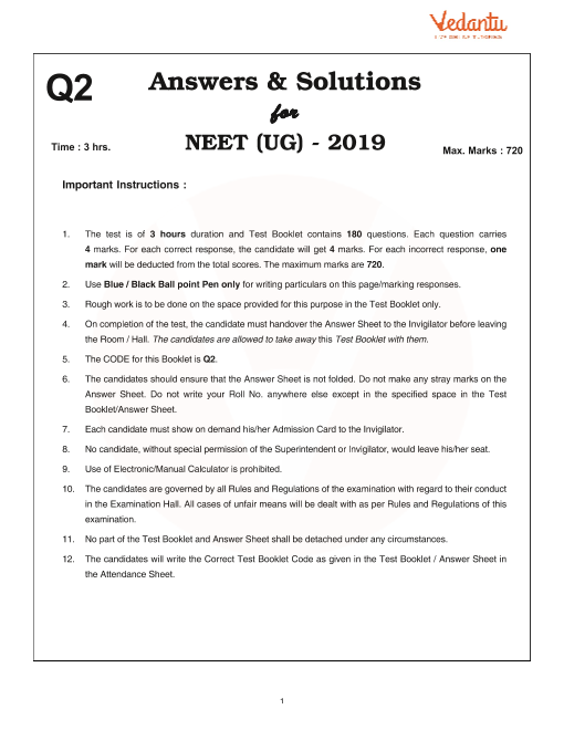 NEET 2019 Question Paper with Solutions and Answers Keys for Code-Q2
