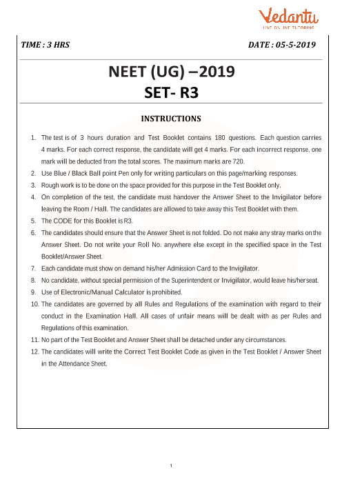 NEET 2019 Question Paper with Solutions and Answers Keys for Code-R3