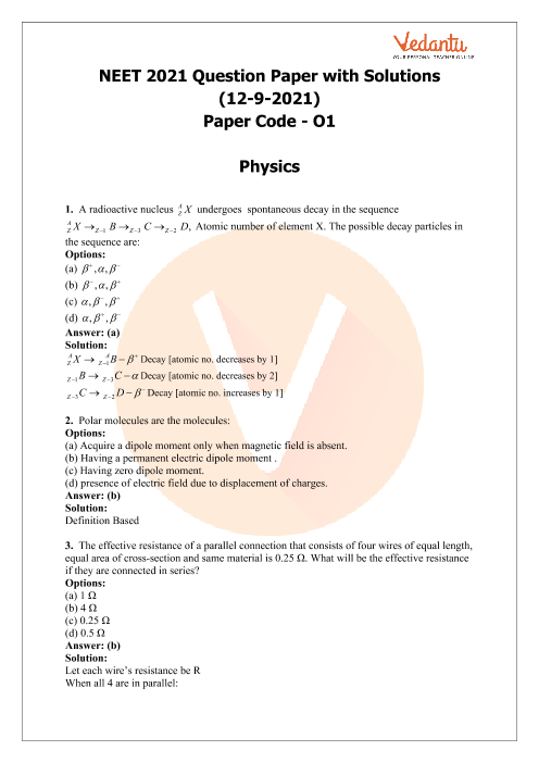 NEET 2021 Question Paper with Solutions for Code-O1 part-1