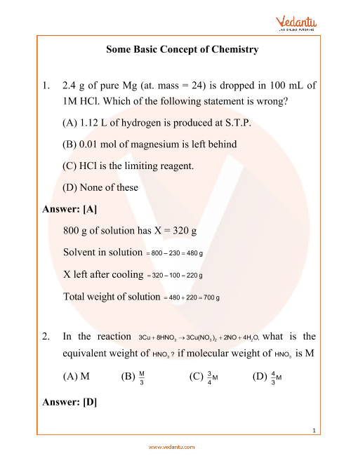 NEET Some Basic Concepts of Chemistry Important Questions part-1
