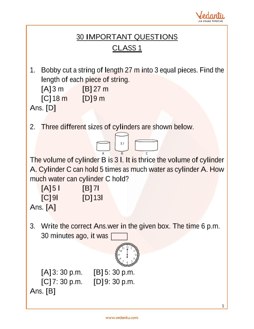 IMO_Class 1_Important Questions part-1
