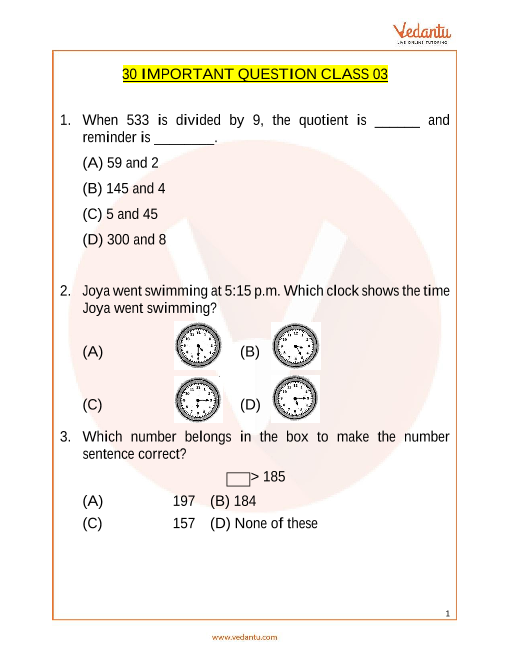 IMO Maths Important Questions for Class 3