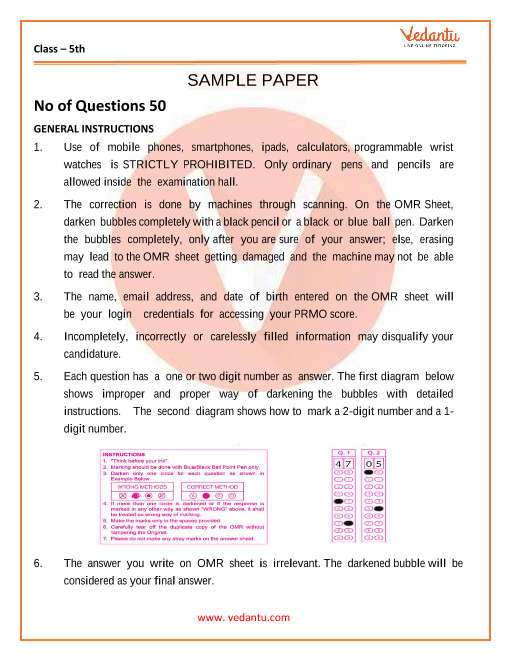 IMO Maths Olympiad Sample Papers for Class 5 part-1