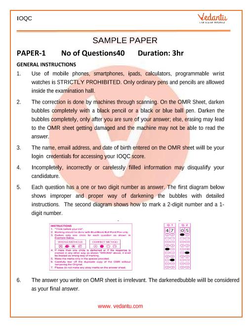 IOQC Sample Paper-1 part-1