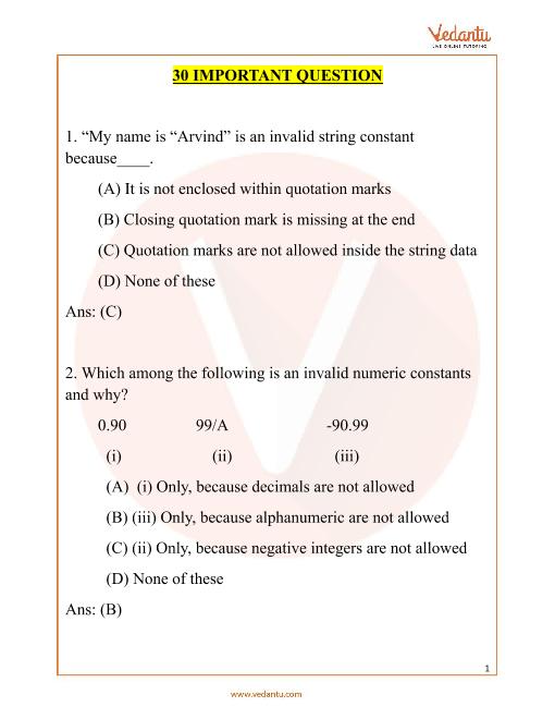 NCO_Class 6_Important Questions part-1