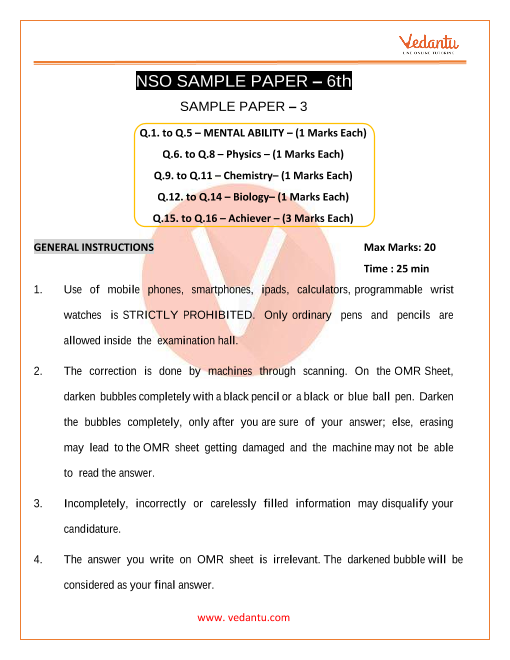 NSO Science Olympiad Sample Paper 3 for Class 6 part-1