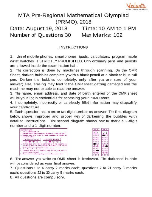 PRMO Previous Year Paper 2018 part-1