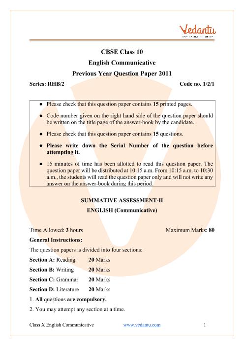 CBSE Class 10 English Communicative Question Paper 2011 Delhi Scheme part-1