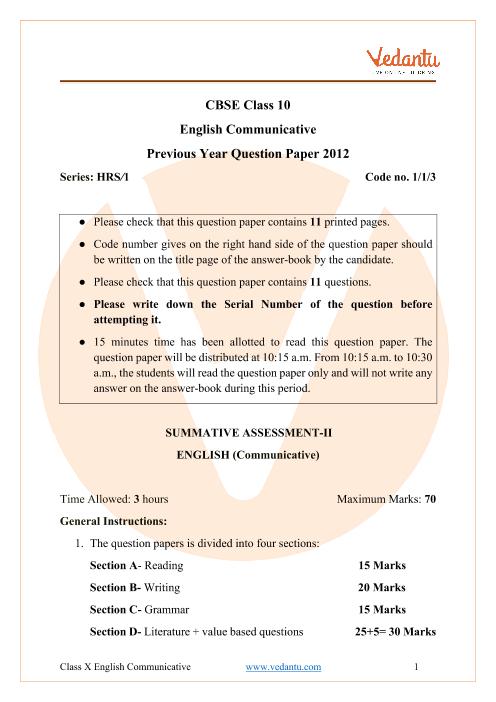 CBSE Class 10 English Communicative Question Paper 2012 Delhi Scheme part-1
