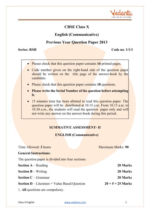 CBSE Class 10 English Communicative Question Paper 2013 Delhi Scheme part-1