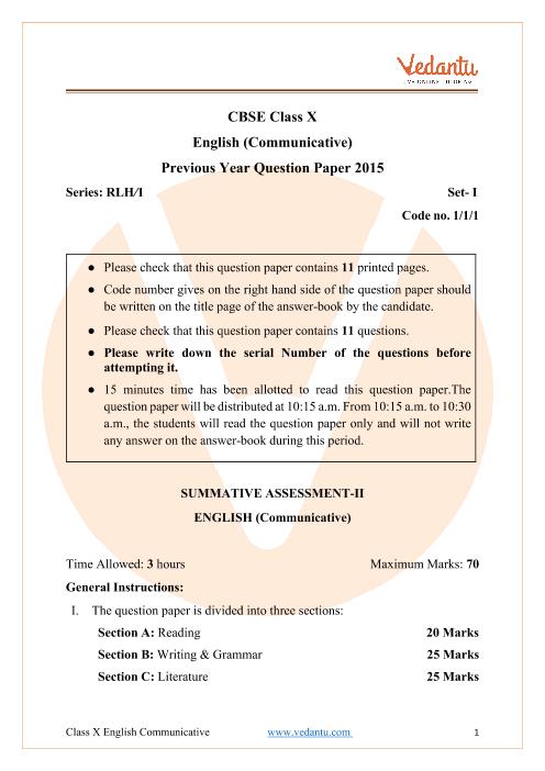 CBSE Class 10 English Communicative Question Paper 2015 Delhi Scheme part-1