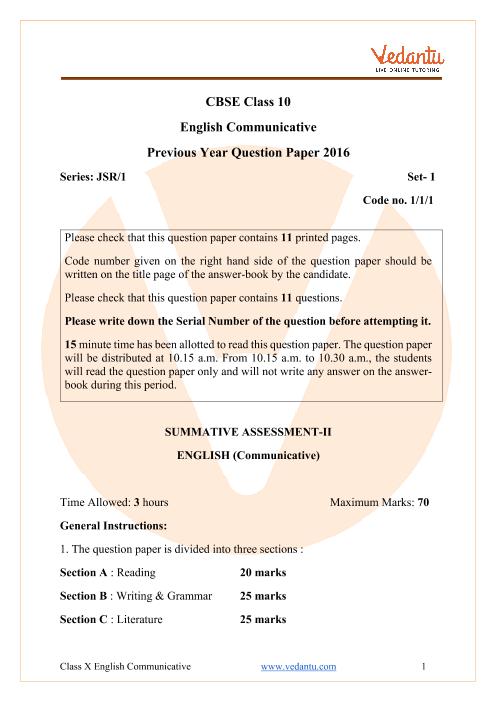 CBSE Class 10 English Communicative Question Paper 2016 Delhi Scheme part-1