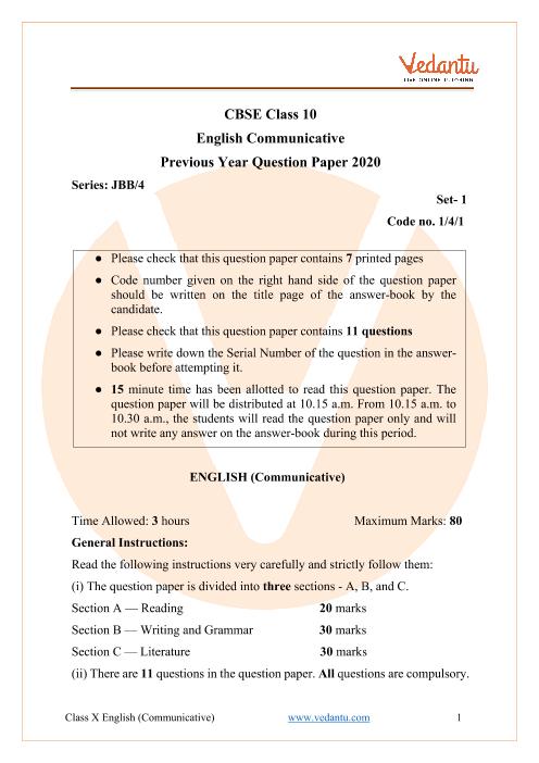 CBSE Class 10 English Communicative Question Paper 2020 Delhi Scheme part-1