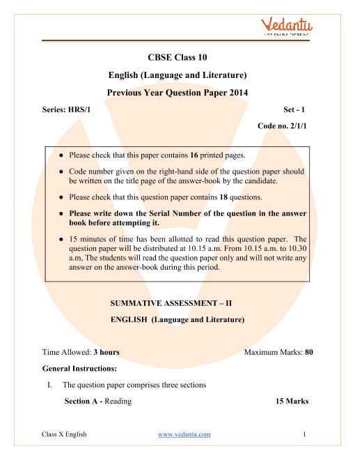 CBSE Class 10 English Language and Literature Question Paper & Solutions 2014 Delhi Scheme part-1