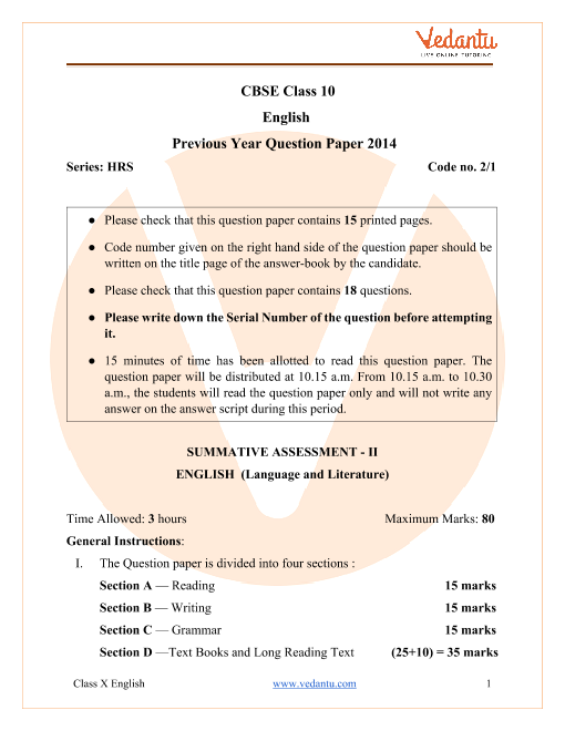 CBSE Class 10 English Language and Literature Question Paper 2014 with Solutions part-1