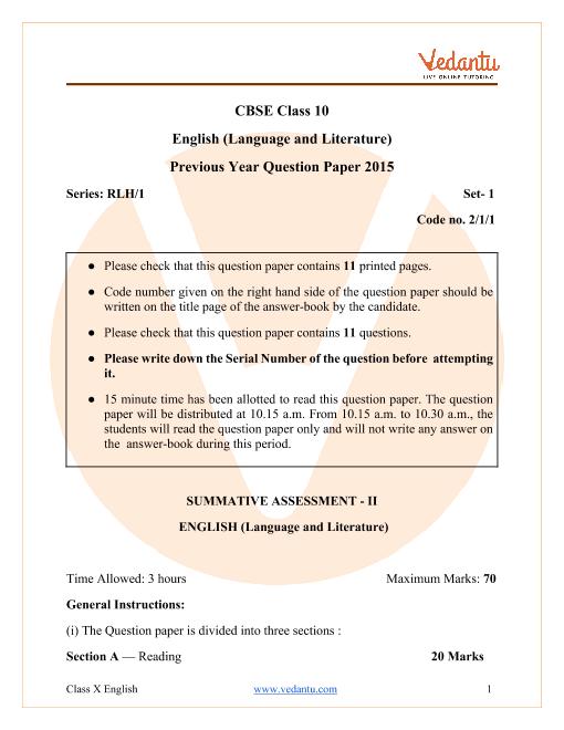 CBSE Class 10 English Language and Literature Question Paper & Solutions 2015 Delhi Scheme part-1