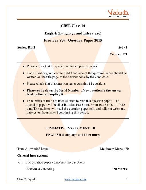 CBSE Class 10 English Language and Literature Question Paper 2015 with Solutions part-1