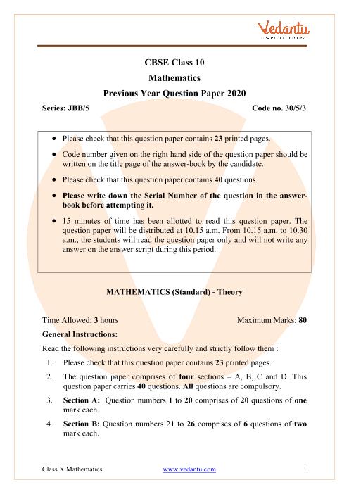 CBSE Class 10 Maths Question Paper 2020 part-1