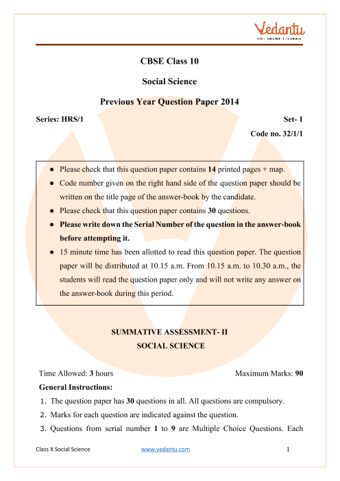 CBSE Class 10 Social Science Question Paper 2014 Delhi Scheme PDF part-1