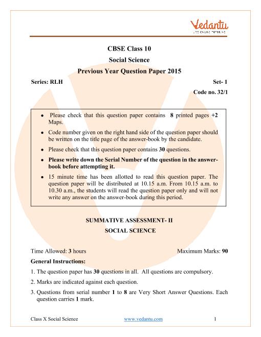 CBSE Class 10 Social Science Question Paper 2015 All India Scheme part-1