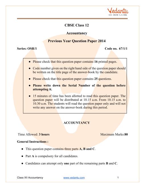 CBSE Class 12 Accountancy Question Paper & Solutions 2014 Delhi Scheme part-1