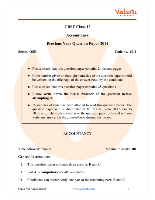 CBSE Class 12 Accountancy Question Paper 2014 with Solutions part-1