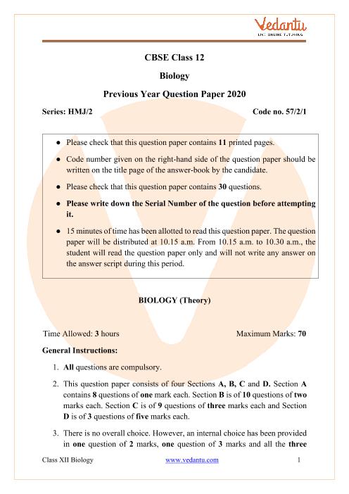 CBSE Class 12 Biology Question Paper 2020 part-1