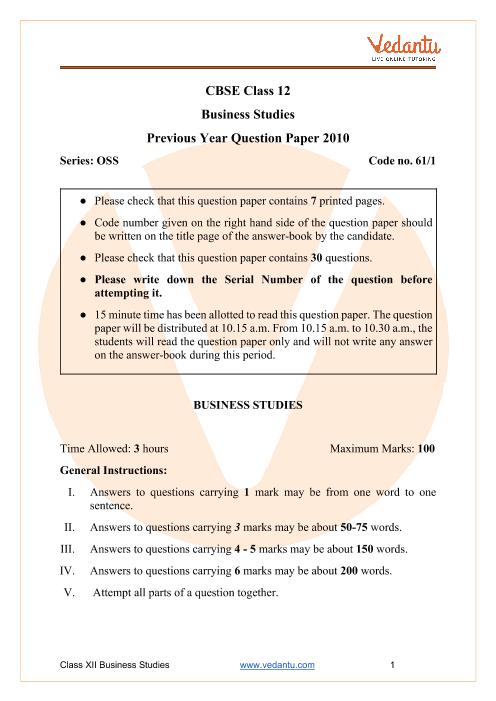 CBSE Class 12 Business Studies Question Paper 2010 part-1