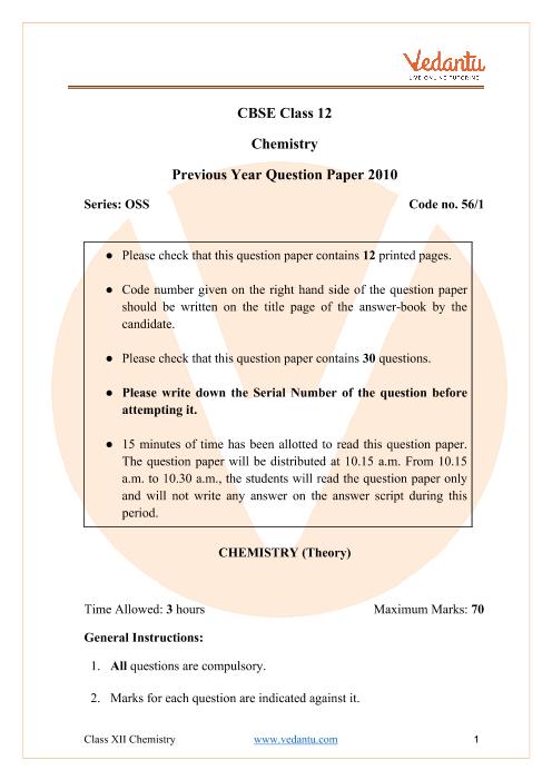 CBSE Class 12 Chemistry Question Paper 2010 part-1