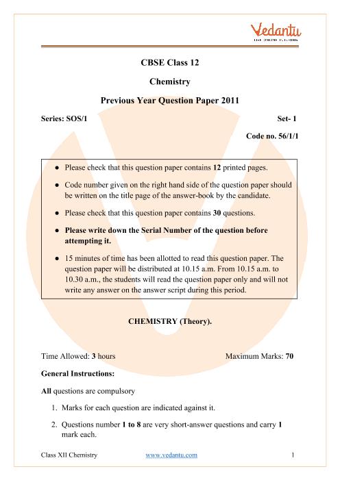CBSE Class 12 Chemistry Question Paper 2011 part-1